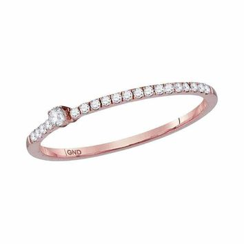 10k Rose Gold Women's Diamond Solitaire Stackable Ring - FREE Shipping (US/CA)