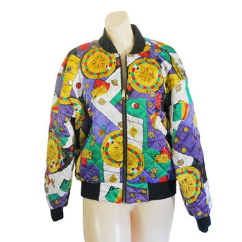 90s Bomber Jacket Las Vegas Atlantic City Satin Bomber Jacket Women Bomber Jacket Purple Jacket Quilted Jacket Unique Clothing Yellow Jacket