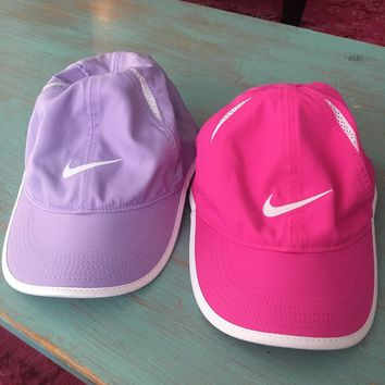 Lot of 2 New Nike Women's Feather Light Cap Tennis Hat Pink Lilac Purple Dri-Fit