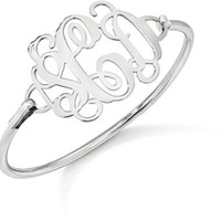 Sterling Silver Monogram Bangle Bracelet