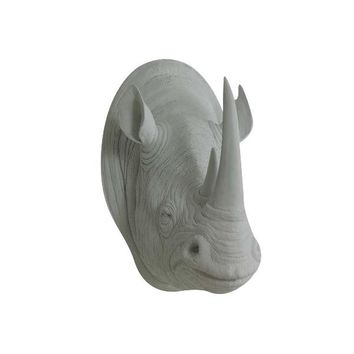 The Large Serengeti Gray Faux Taxidermy Resin Rhino Head Wall Mount | Gray Rhinoceros w/ Colored Horns