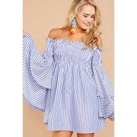 One More Chance Blue Stripe Off The Shoulder Dress