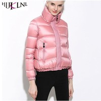 HIJKLNL Puffer Jacket 2017 Women Winter Down Jacket and Coat Ladies Elegant Turtleneck A-Line Duck Down Jacket Parka Mujer NA304