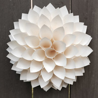 """Paper Dahlia Cream ivory wreath paper wall 3D art, 13"""" centerpiece wedding baby showers 13 inches"""