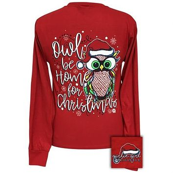 Girlie Girl Preppy Owl Be Home For Christmas Holiday Long Sleeve T-Shirt