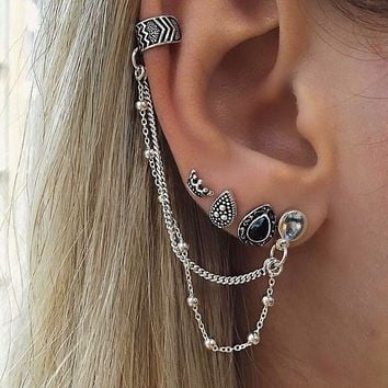 ES524 4pcs/set Long Tassel Earrings Sets Crown Waterdrop Stud Earring For Woman oorbellen Boucles D'oreille Bohemian
