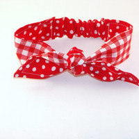 Baby Toddler Pre-tied Head Scarfs Red Gingham over Red Polka Dots Headband for Infant Toddler Baby Headband Hair Accessory