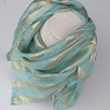 Aquamarine Green Square shawl, Mint green Silk chiffon, Holiday gift for mom, Best friend Gift, Birthday Gift, Sparkle Festive Gift