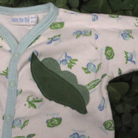 Organic Cotton Baby Vegetable Footed Sleeper- Upcycled Peas in a Pod Pajamas - Newborn 0-3 Months