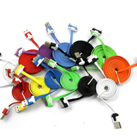 Flat Noodle USB Sync Data Charging Charger Cable Cord For Apple iPhone 4 4S 4G = 1697386692