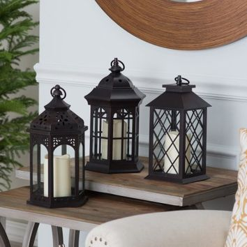 Hawthorne Mini Metal Lanterns with LED Candle - Set of 3 - Candle Holders & Candles at Hayneedle