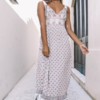 Whatever It Takes Taupe Abstract Print Maxi