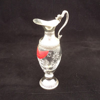 Vintage Silver Plate Pressed Glass Miniature Buton Cherry Brandy Jug Decanter, UK Seller