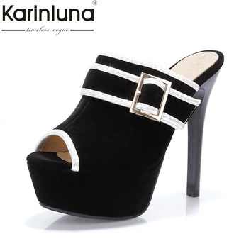 KARINLUNA 2017 Big Size 34-43 Peep Toe Thick Platform Women Mules Pumps Sexy Slip On Super High High Heels Party Shoes Woman