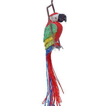 African Fair Trade Beaded Macaw Figurine - Wireworx wire and glass beaded animal