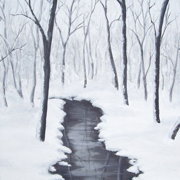 """Original Winter Landscape Painting, Snowy Winter Forest, Winter Stream Painting, Trees, Water, White Art, Grey, Gray, Acrylic 10"""" X 10"""""""