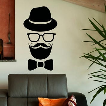 Hipster Wall Decal Sticker Hipster Glasses Hat Mustache Vinyl Stickers Interior Design Bedroom Living Room Nursery Wall Art Home Decor C105