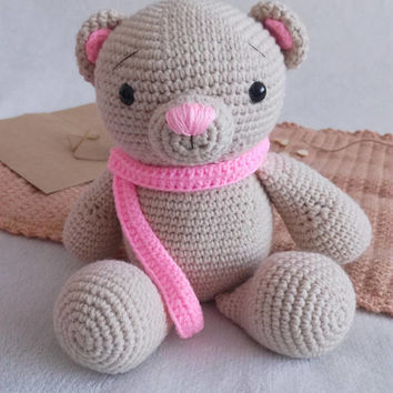 Pink Bear with Scarf - amigurumi crochet toy