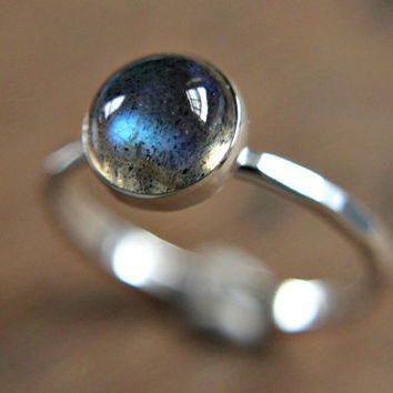 Labradorite ring - sterling silver stacking ring - gemstone stacking ring - everyday ring