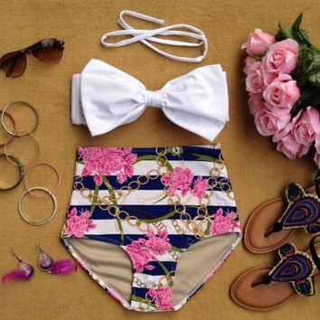 Hight Waist Holiday Bow Bikini Set Swimsuit Summer Gift 157