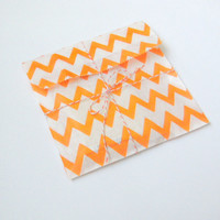 Chevron 5x7 Flat Bags and Twine Set of 10 Lots of Colors
