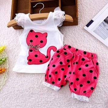 Summer Kids Baby Girls set Clothing Set Children Bow Cat Shirt+Shorts girls Clothes Set Suit Drop ship