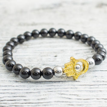 Black onyx beaded stretchy gold Hamsa hand bracelet with silver plated hematite beads, mens bracelet, womens bracelet
