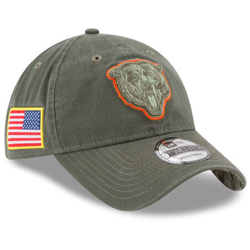Men's Chicago Bears New Era Olive 2017 Salute To Service 9TWENTY Adjustable Hat