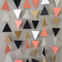 Coral Gold Black White Triangle Garland. Geometric Garland. Paper Backdrop. Tribal Party. Baby Shower. Birthday Garland. Photo Prop.