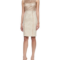 Sleeveless Sequined Tweed Sheath Dress, Size: