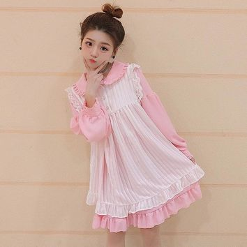 2018 Japanese Soft Sister Women Kawaii Dress Female Cute Lace Stitching Ruffle Overall Dress Vintage Two Piece Set Maid Dress