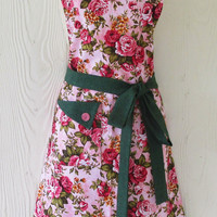 Floral Full Apron,  Pink Roses, Green Floral, Cottage Chic, Vintage Style , KitschNStyle