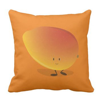 Smiling Mango Character Throw Pillow