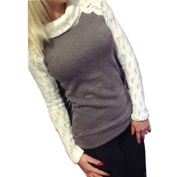2017 European Women Fashion Sweater Autumn Winter Pullover Turtleneck Patchwork Lace Long Sleeve Jumper Knitted Tops Pull Femme