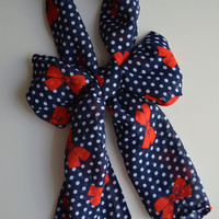 SALE. Pinup Scarf. Navy Polka Dot with Red Bows.