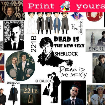 Set #316. Sherlock. Mockup printable Tumblr Stickers, Stickers, Sets. Decals. Printable (downloadable) file ONLY. Nothing will be shipped.