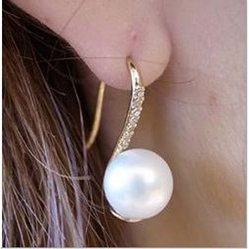 Simulated Pearl Gold-Color Drop Earrings Crystal Earring