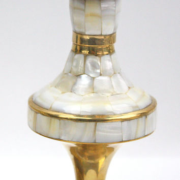 Mother of Pearl and Brass Candlesticks / Pair / Red Velvet Case / Old Hollywood Decor