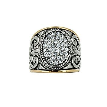 Two-Tone Crystal Accented Oval Filigree Statement Ring