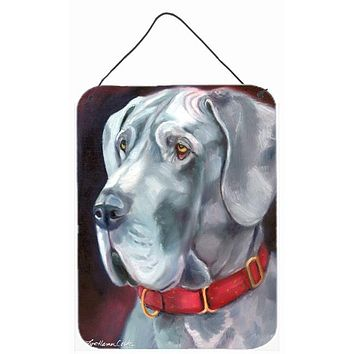 Great Dane Natural Ears Red Collar Wall or Door Hanging Prints 7309DS1216