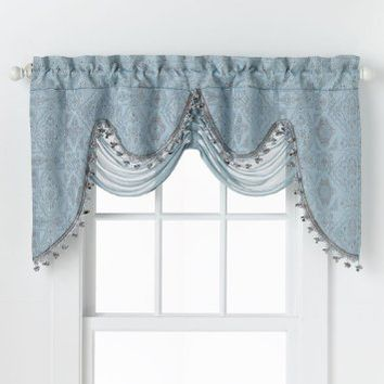 "HLC.ME Portofino Blue Jacquard Curtain Valances - 52""Inch by 28"" Inch"