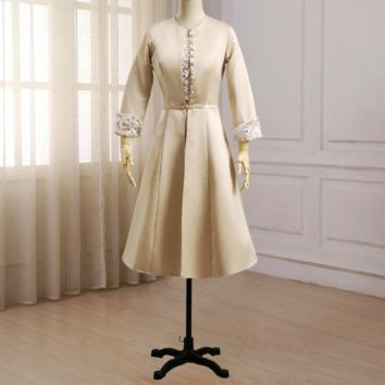 Mother of the Bride Dresses with Jacket Long Sleeves Wedding Party Mom Dress Knee Length Mother Gowns