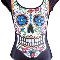 Women's Day Of The Dead Skull Bodysuit - Black