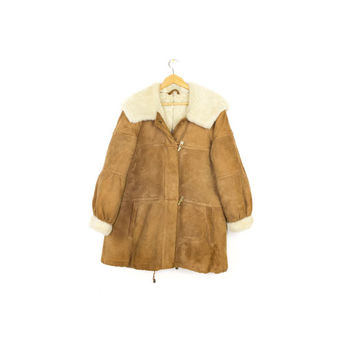 Sawyer of Napa sheepskin shearling parka - vintage - genuine suede leather & wool coat - real sheepskin jacket - hood - womens