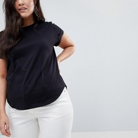 ASOS CURVE T-Shirt in Boyfriend Fit with Rolled Sleeve and Curved Hem at asos.com