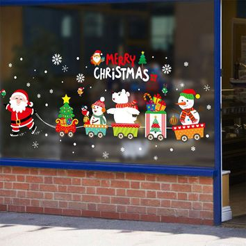 45*60cm 2019 Merry Christmas Decorations for Home Santa Claus Pull Train Glass Window New Year Decorative Stickers Navidad Natal