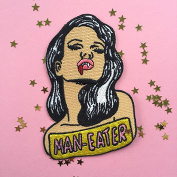 Man eater iron on patch!  3.5""