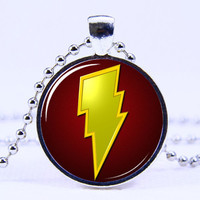 Art Pendant necklace-  The Flash  necklace,Silvery necklace,Antique necklace,Superhero necklace