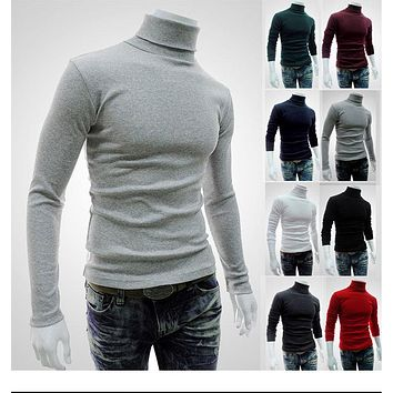 2017 New style mens high neck long sleeve t shirt basic plain turtleneck t shirts Autumn Winter keep warm Solid color MQ512