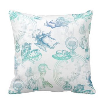 Alice in Wonderland Tea Blue Green Throw Pillow